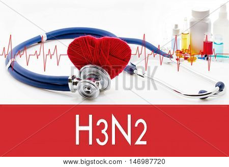 Medical concept H3N2 (influenza grippe). Stethoscope and red heart on a white background