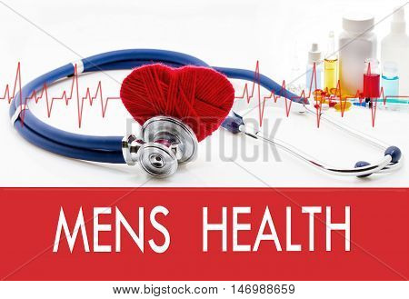 Medical concept mens health. Stethoscope and red heart on a white background
