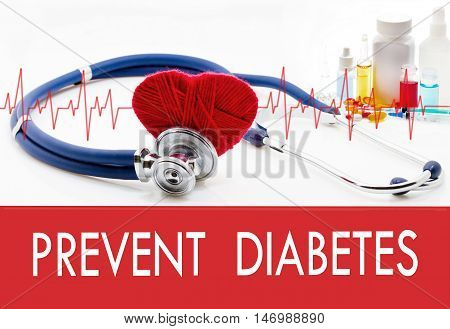 Medical concept prevent diabetes. Stethoscope and red heart on a white background