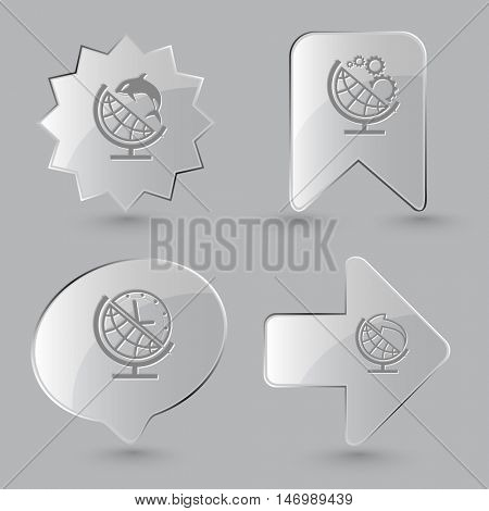 4 images: globe and shamoo, globe and gears, globe and clock, globe and arrow. School globe set. Glass buttons on gray background. Vector icons.