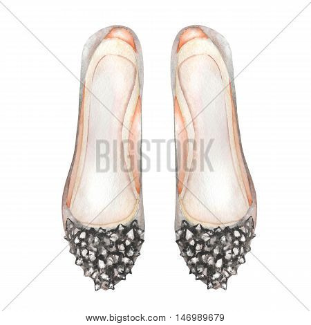 Illustration isolated grey women's ballet shoes with inlaid stones. Painted hand-drawn in a watercolor on a white background.