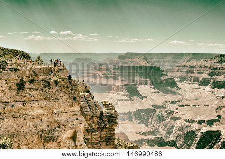 Grand Canyon view and people background, Arizona USA