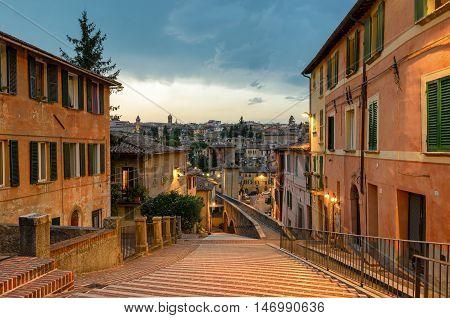 Perugia - Via dell'Acquedotto (Aqueduct street) at twilight