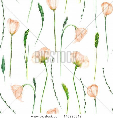 A seamless floral pattern with the watercolor beautiful  tender pink spring flowers on a white background poster