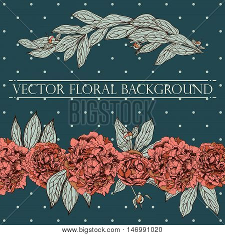 Vector floral composition. Vintage peony background. Floral elements for design invitations greeting cards wedding cards.