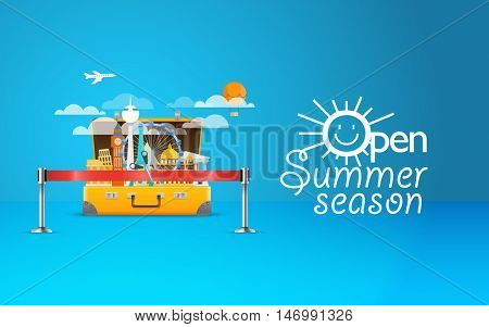 Summer seaside vacation illustration. Vector travel illustration. Open summer season concept