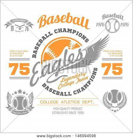 Vintage baseball logo, emblem, badge and design elements. Vector illustration on light background
