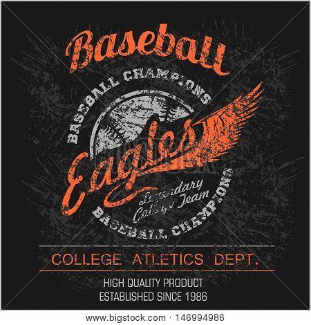 Vintage baseball logo, emblem, badge and design elements. Vector illustration on dark background