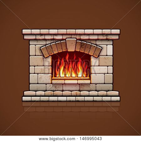 Stone bricks home fireplace. Christmas hearth with burning fire for house heating. Warm vector illustration