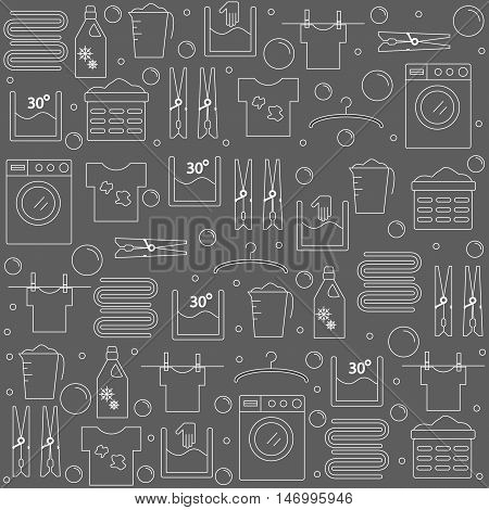 Laundry. Background with icons laundry. Banner for your company or store. Vector illustration.