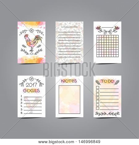 Printable Journaling Cards with Rooster Illustration. Line Style Bullet Jornal Pages with Watercolor Background. Vector Set of Notes and To Do List. Planner for 2017 Chinese New Year of the Cock.