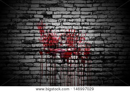 set 8. bloody handprint on brick wall in the dark for horror content and halloween festival. 3d illustration.