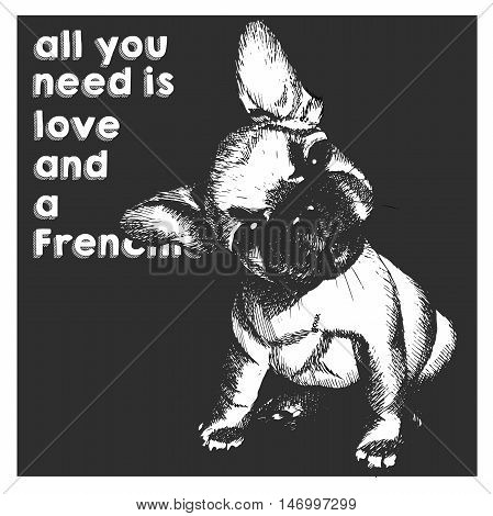 Vector close up portrait of french bulldog puppy isolated on black square background. All you need is love and a dog. Hand drawn domestic dog illustration. Sketched engraved funny illustration.
