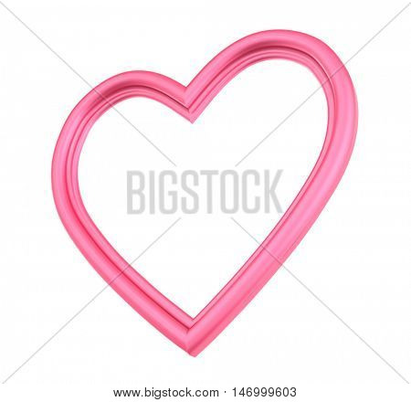Pink heart picture frame isolated on white. 3D illustration.