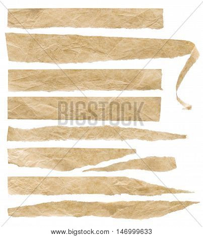 Torn Old Crumpled Paper Pieces Ripped Tape Rough Labels Set Isolated over White