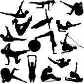 silhouettes of woman doing pilates exercise, vector illustration poster