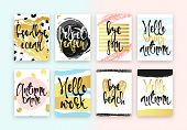 Set hand drawn cards design. Beautiful colorful design in gold with hand calligraphy. Goodbye ocean, Velvet season, Bye sun, Hello rainy autumn, Autumn came, Hello work, Bye beach, Hello autumn poster
