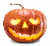 Grinning pumpkin lantern or jack-o'-lantern is one of the symbols of Halloween. Clipping path. poster