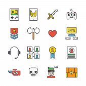 Set of simple outline gamer icons with different gaming accessories and symbols poster