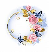 Round gilded banner with pink delicate roses blue butterflies gold and blue leaves on a light background. Design with roses. Pink rose. Trendy colors. Rose Quartz and serenity. poster