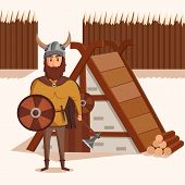 Viking with helmet with horns and axe, shield near lumbermill. Ancient norwegian warrior with mustache and shield near wooden fence. Can be used for historical military and scandinavian theme poster