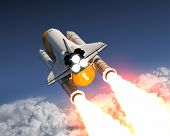 Space Shuttle Launch Above The Clouds. 3D Illustration. poster