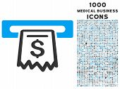 Receipt Terminal glyph bicolor icon with 1000 medical business icons. Set style is flat pictograms blue and gray colors white background. poster