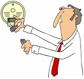 Illustration of a businessman installing a 9 volt battery in a smoke detector. poster