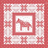 Scandinavian style and Nordic culture inspired Christmas and festive winter square pattern in cross stitch style with Swedish style Dala horse, snowflake, star and  decorative ornaments in red, white poster
