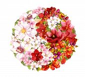 Yin yang sign with flowers. Floral form yinyang. Red and white watercolor poster