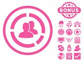Demography Diagram icon with bonus. Vector illustration style is flat iconic symbols, pink color, white background. poster