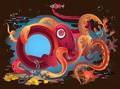 Red funny octopus on ocean floor, vector illustration poster