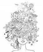 Portrait of young beautiful girl with crazy psychedelic hair and her dreams wishes hobbies - lifestyle concept. Creative adult coloring book page. poster