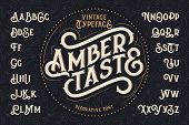 "Vintage decorative font named ""Amber Taste"" with label design and background pattern poster"
