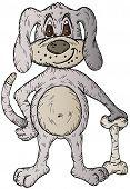 Hand drawn illustration of a cartoon dog and bone poster
