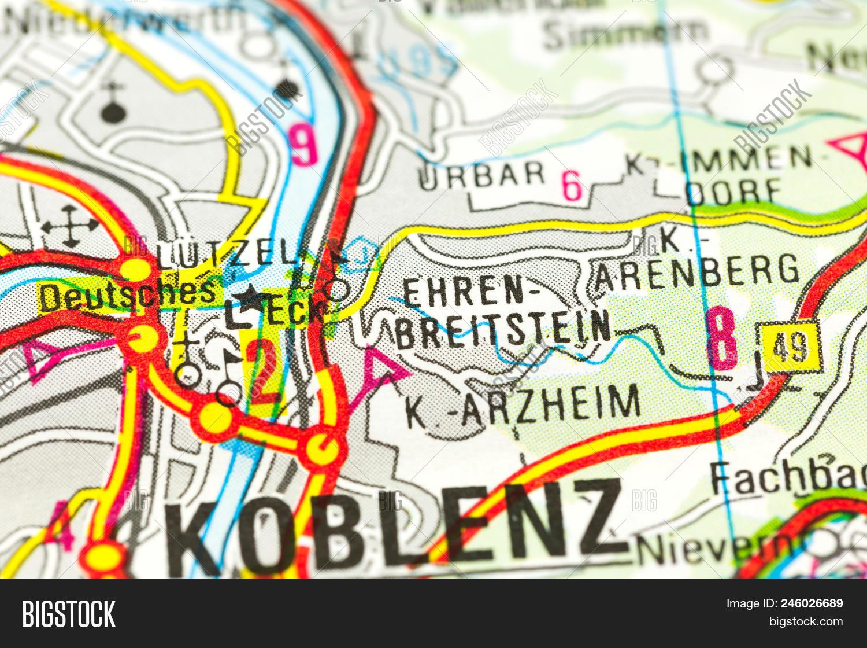 Map Of Germany Rhineland.German Corner On Map Image Photo Free Trial Bigstock