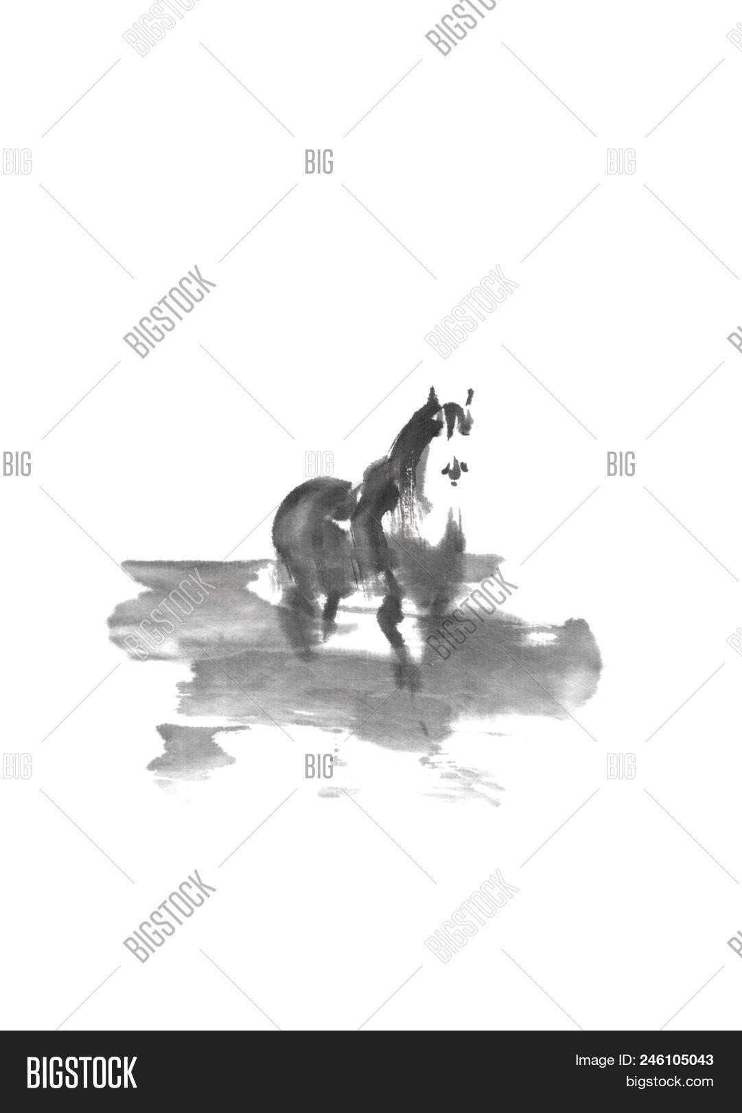 Horse In Mist Japanese Style Original Sumi E Ink Painting Great Wall Art