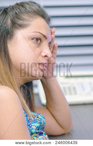 Close-up Office Worker Woman Suffering From Headache Migraine Pain. Health Problem, Stress And Depre