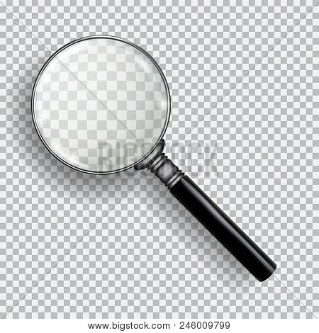 3d Realistic Magnifying Glass. Transparent Loupe On Plaid Black White Background. Element For Advert