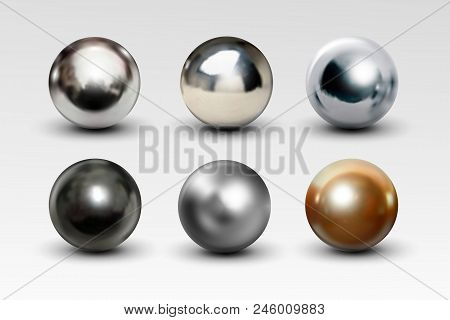 Chrome Ball Set Realistic Isolated On White Background. Spherical 3d Orb With Transparent Glares And