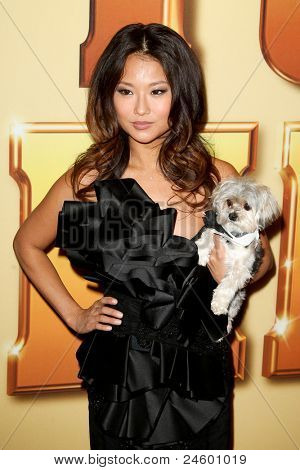 NEW YORK - OCTOBER 24: Anna Park and Lucky the dog attend the premiere of