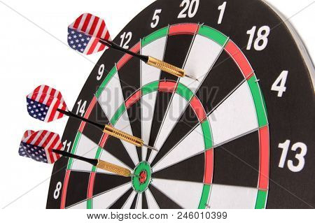 Target for darts whit american flag on white background