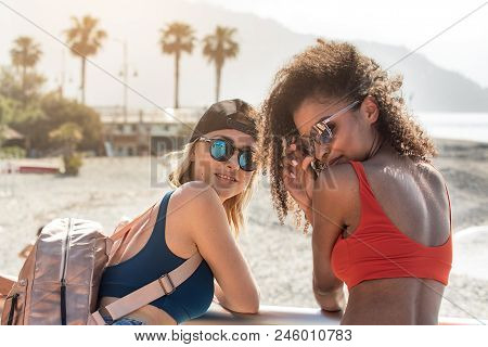 Beautiful Multi Ethnic Smiling Girlfriends Posing Together.sunny Summer Day At Italian Coast. Women