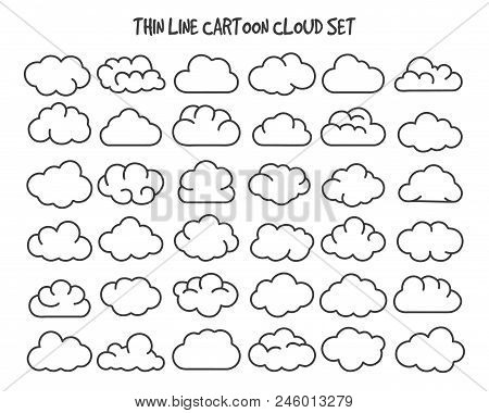 Thin Line Clouds. Vector Linear Cloud Silhouette Icons For Internet Technology Concepts, Cartoon Sha