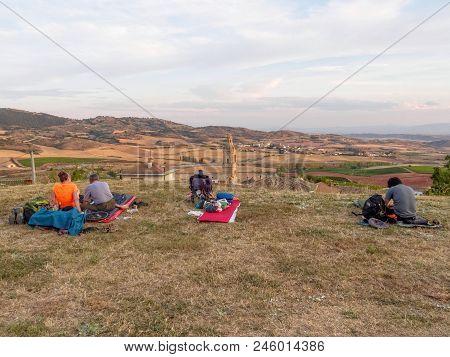 Makeshift pilgrim campsite above the village - Villamayor de Monjardin, Navarre, Spain poster