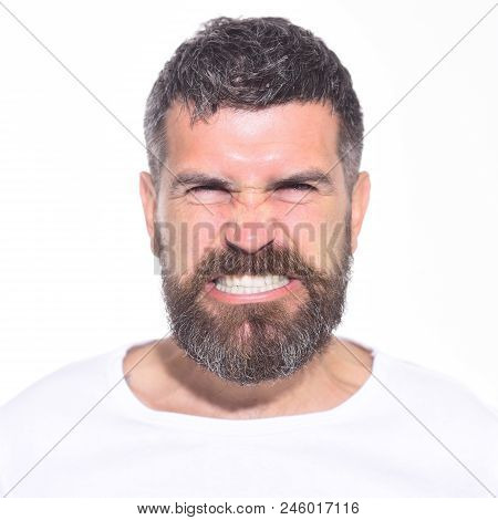 Angry Man. Anger. Aggressive Bearded Man With Stylish Hair. Hipster With Long Beard And Mustache Wit
