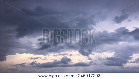 Beautiful Clouds Against A Blue Sky Background. Cloud Sky. Blue Sky With Clouds Weather, Nature Clou