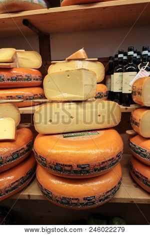 Alkmaar, Netherlands - April 21, 2017: Display Of Traditional Dutch Cheese, Like Edam And Gouda Chee
