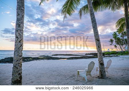 Two Deck Chairs On An Empty Beach At Lefaga, Matautu, Upolu Island, Western Samoa, South Pacific - L