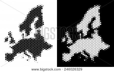 Pixel Halftone European Union Map. Vector Geographic Map On White And Black Backgrounds. Abstract Co